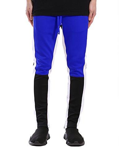JD Apparel Color Block Track Pants/Zip S Royal