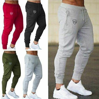 Mens Slim Fit Tracksuit Gym Sports Skinny Jogging Joggers Sw