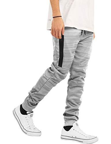 Hat and Beyond Mens Joggers with Zipper Pockets Solid Slim Fit Basic Sweatpants