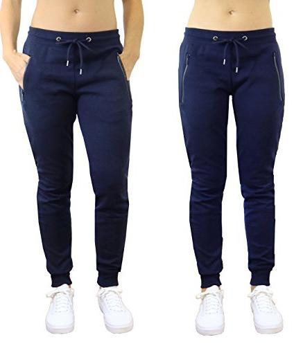 ladies navy tech fleece joggers with stretch