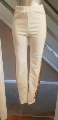 🐝LADIES BOOHOO WHITE RAINBOW STRIPE JOG BOTTOMS TALL SIZE