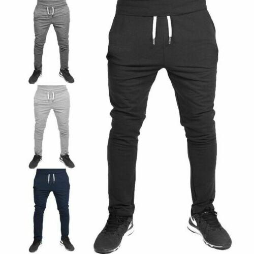 men casual long sport pants gym slim
