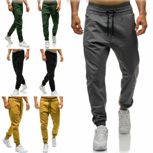 men casual sport long pants tracksuit fitness