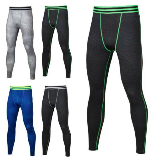 Men Compression Leggings Base Layer Long Stretch Sports Trousers