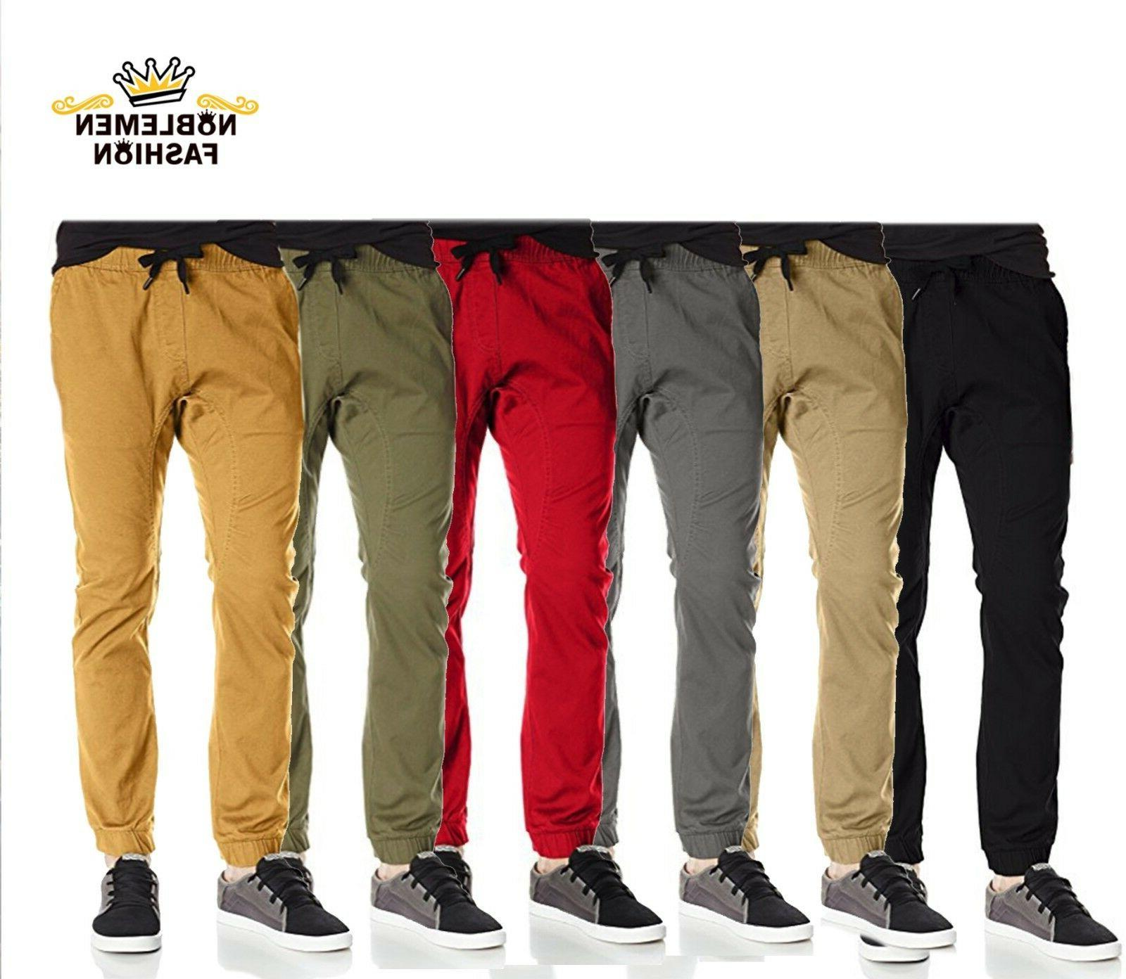men joggers pants twill stretch fit casual