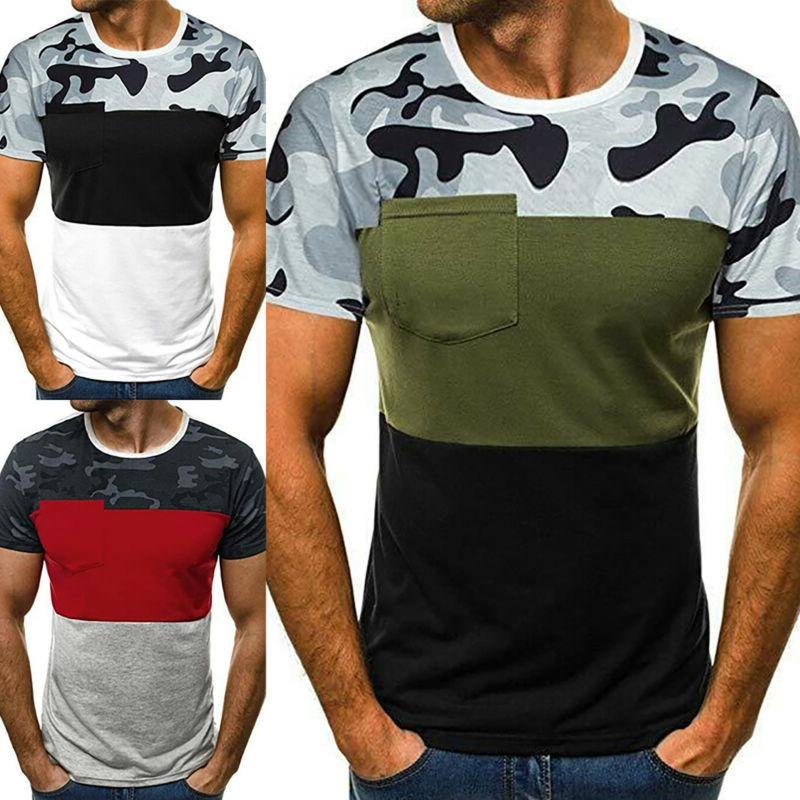 Men's Camo Fitness Sleeve Casual Fit Athletic Basic Tops