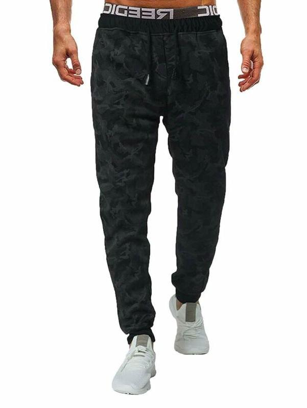 men s casual sweatpant camo print drawstring