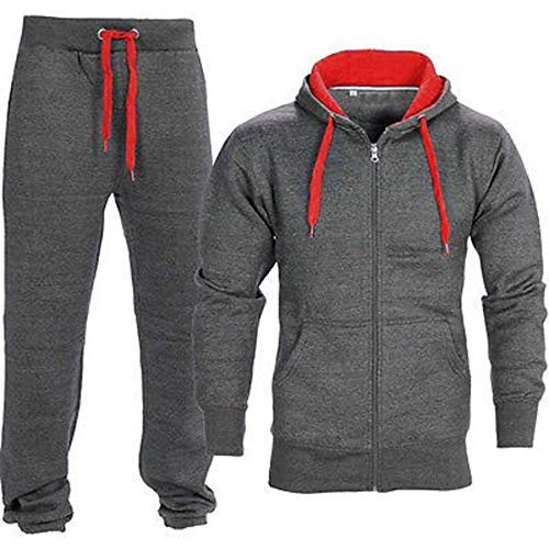 men s gym contrast jogging full tracksuit
