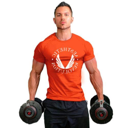 Men's Gym Muscle Workout O-Neck Jogger T-shirt Tee