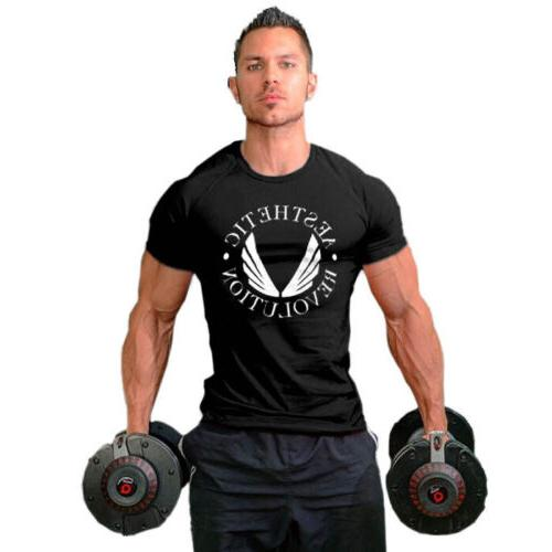 Men's Gym Muscle Workout Cotton Sleeve O-Neck T-shirt