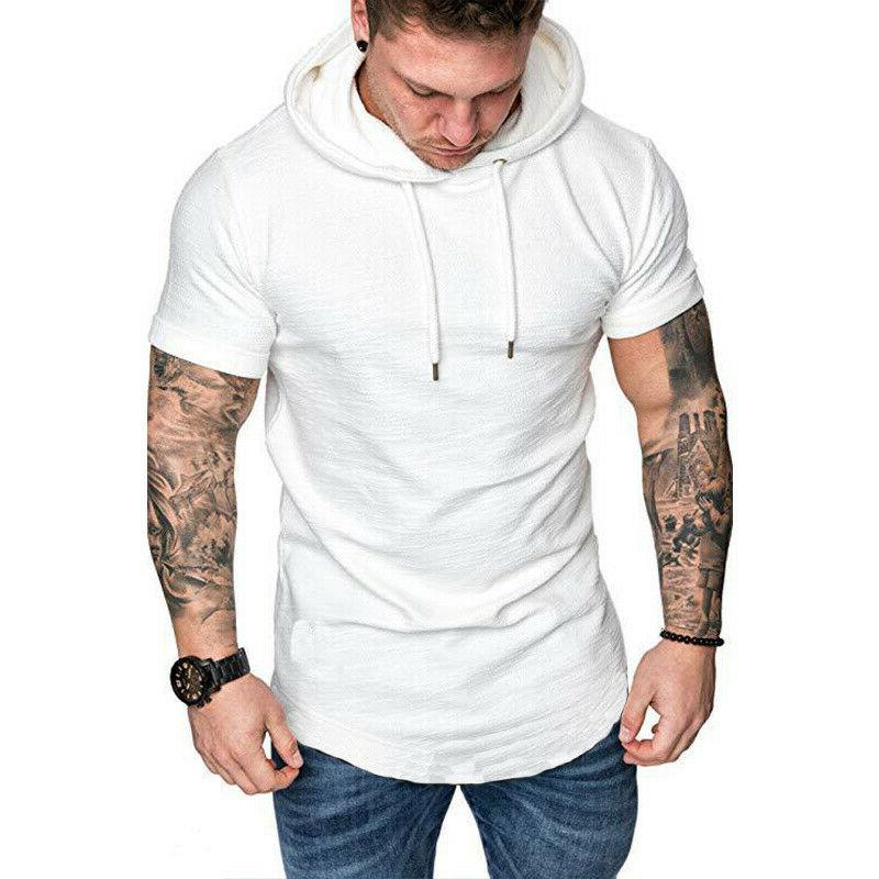Men's Hoodie Muscle Short Sleeve Plain Casual Hooded