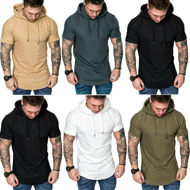 Men's Muscle Plain Casual Hooded
