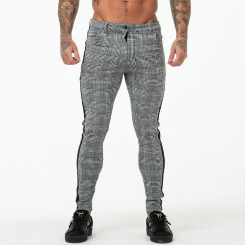 Men's Checked Fit Trousers Joggers Bottoms USA