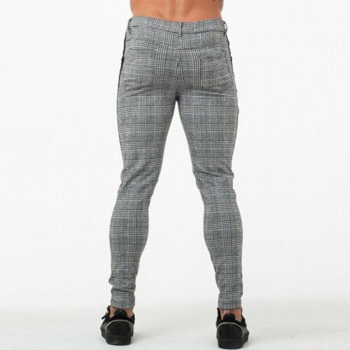 Men's Plaid Checked Fit Joggers Bottoms