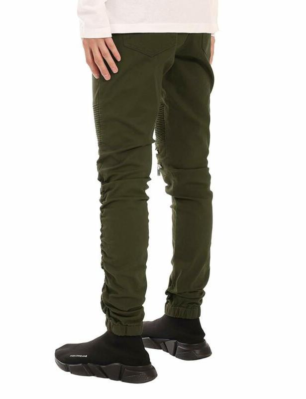 Jd Apparel Men'S Fit Biker Jogger With Shirring