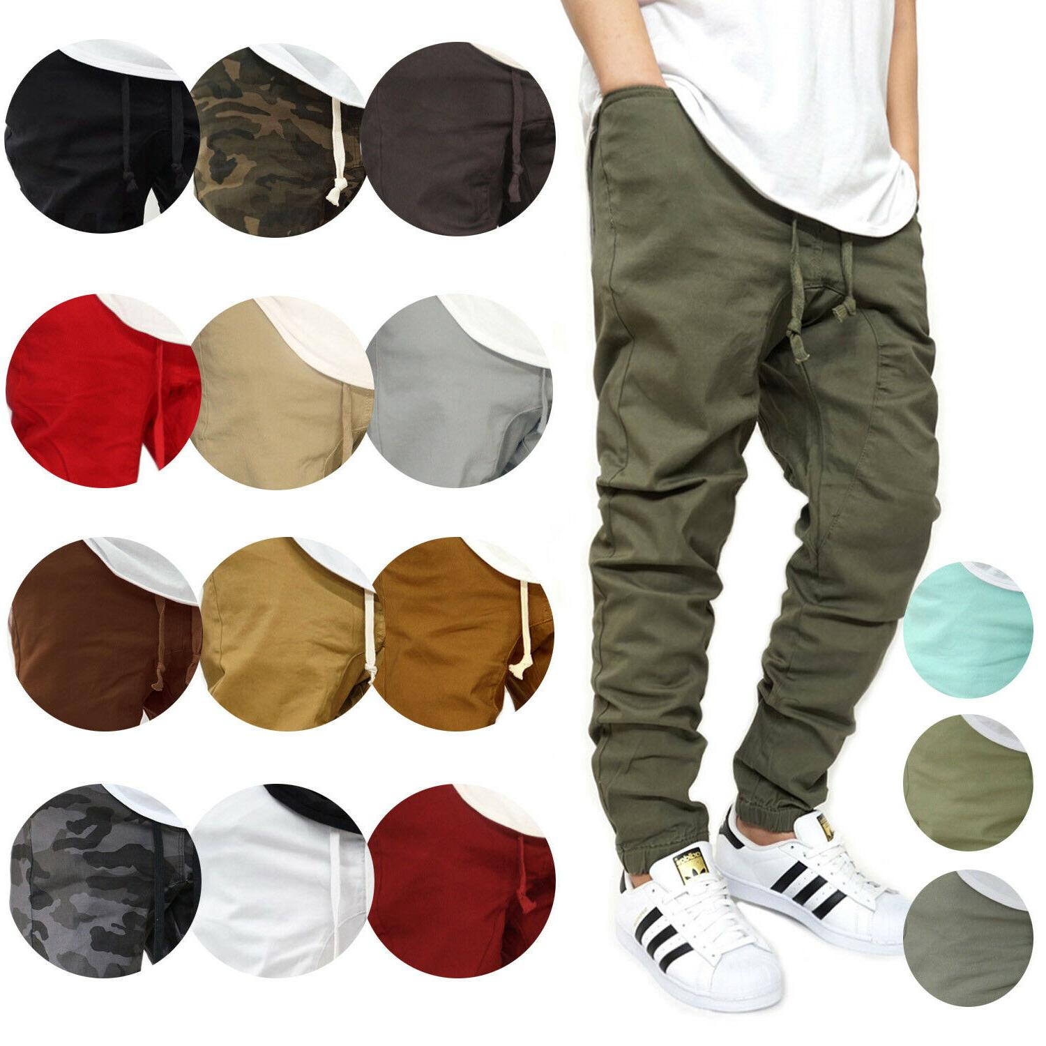 men s twill drop crotch jogger pants