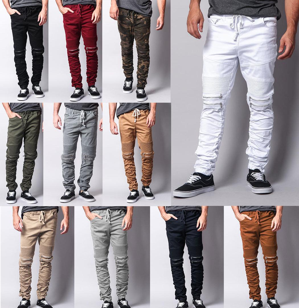 Men Retro Stretchy Zipper Knee Scrunch Stacked Biker Twill Distressed Pants