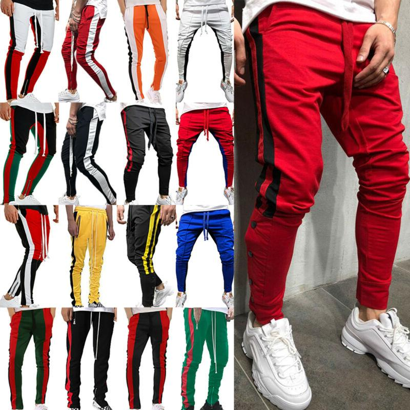 men track pants skinny casual sports jogging