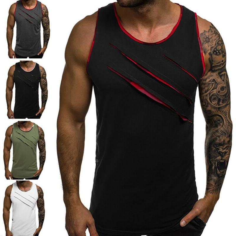 mens casual gym running vest tank top