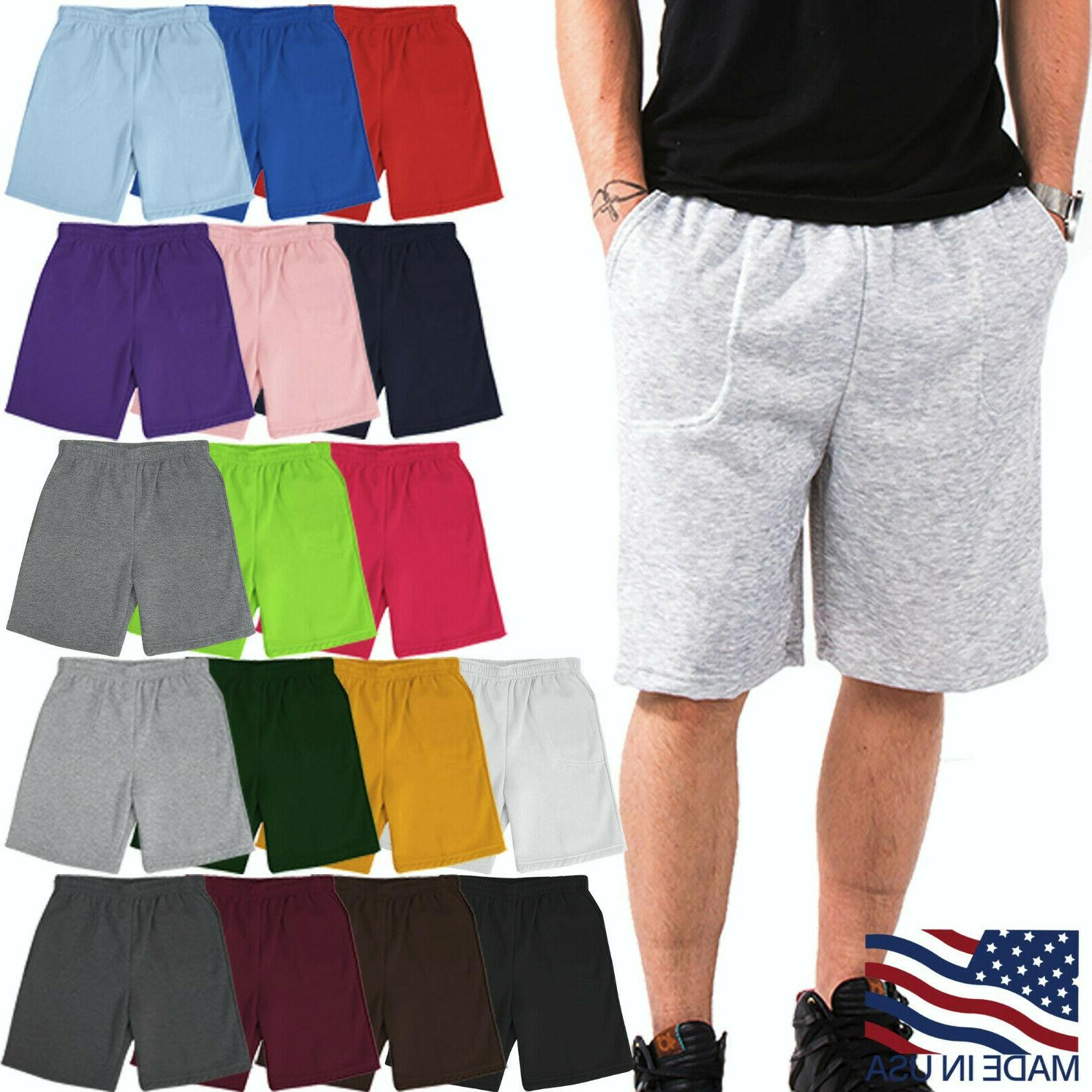 mens fleece shorts brushed lightweight joggers sweat