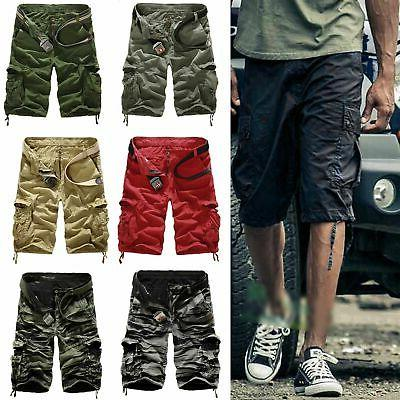 Mens Cargo Shorts Summer Work Pants Trousers