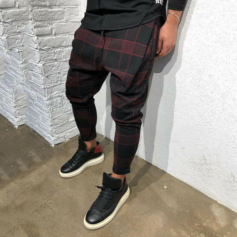 Mens Plaid Casual Joggers Skinny Bottoms Track