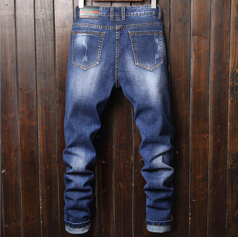 Mens Ripped Skinny Jeans Distressed Frayed Slim Fit Denim