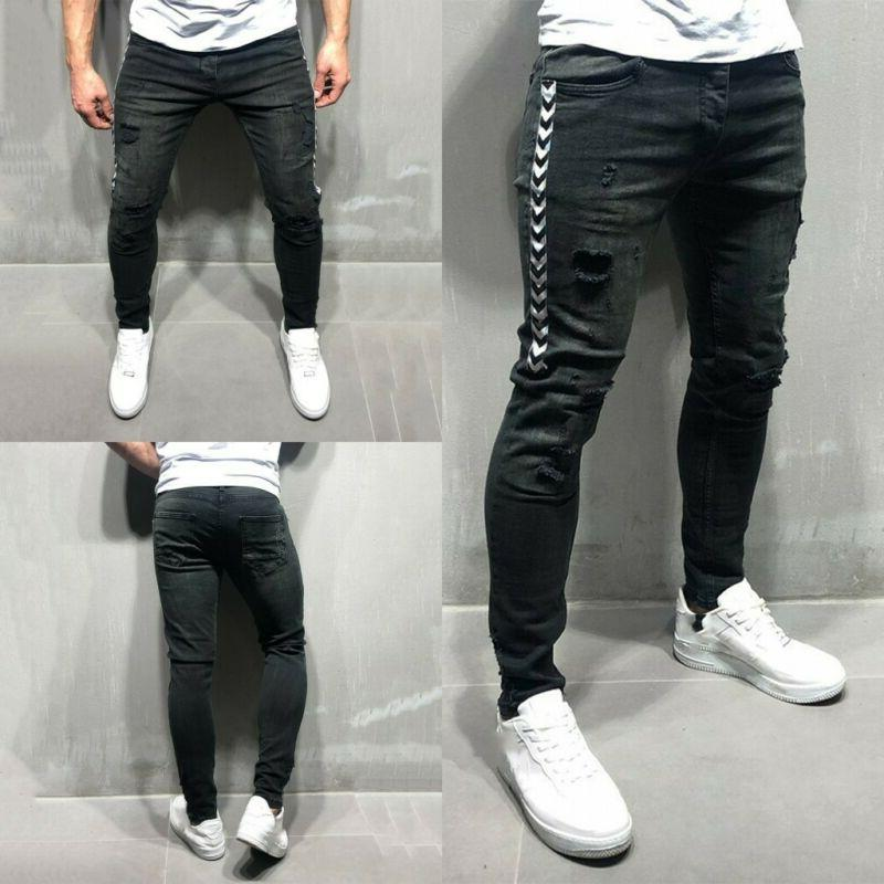 mens skinny slim fit pants ripped distressed