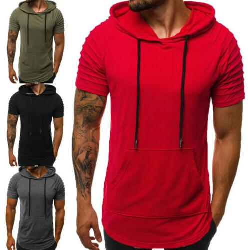 Mens Slim Fit Gym Muscle Hoodies Top Blouse