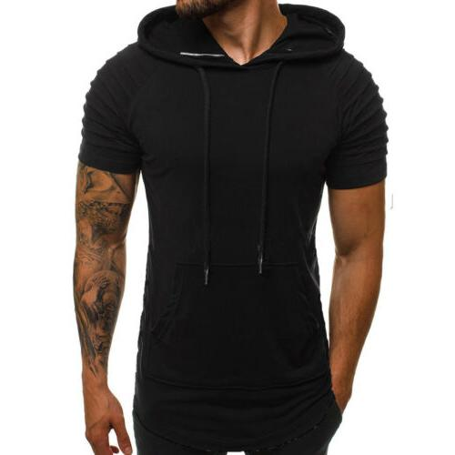 Mens Fit Gym Hoodies Top Sports Short Blouse