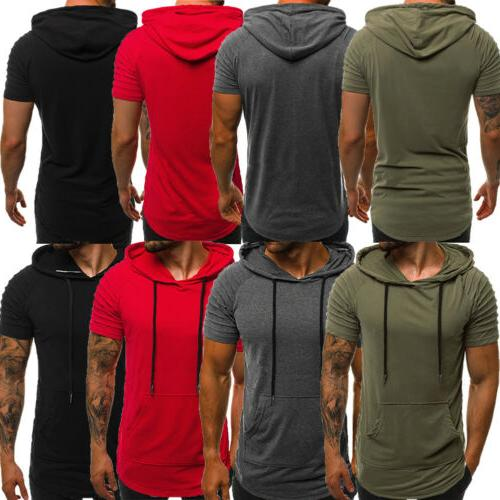 Mens Slim Fit Gym Muscle Top Short Blouse
