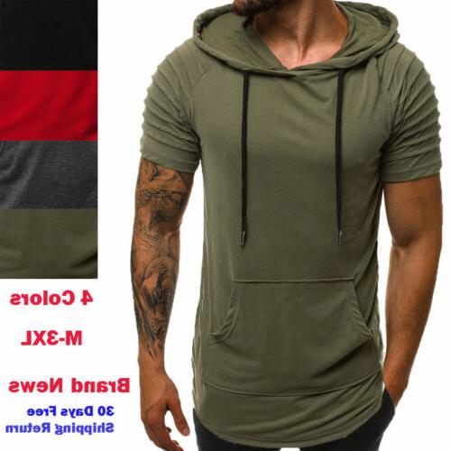 mens slim fit athletic gym muscle hoodies