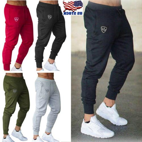 mens sport pants long trousers tracksuit fitness