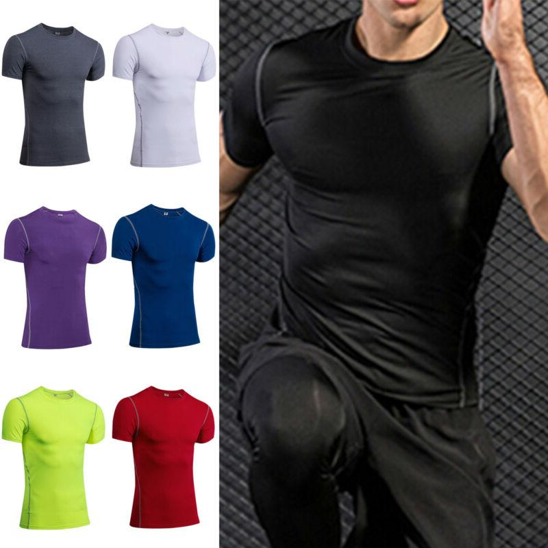 mens sports compression shirt fitness gym joggers