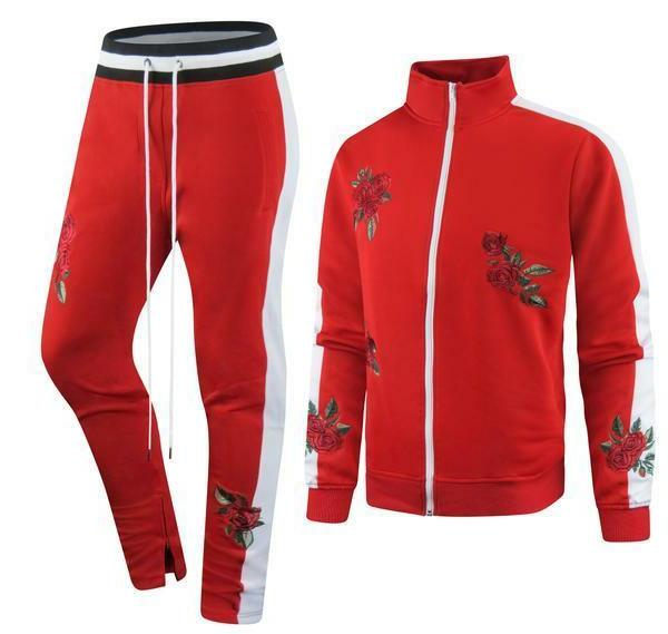 new men red stripe tracksuit top bottom
