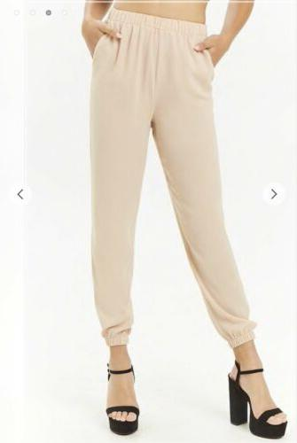 new with tags womens small beige joggers