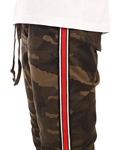 JD Apparel Men's Jogger Pants with Red Stripes M