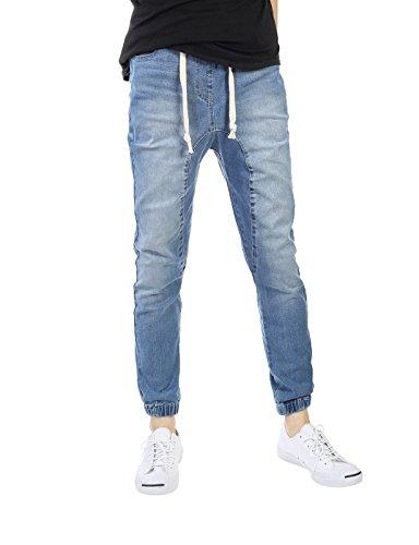 slim fit washed denim joggers
