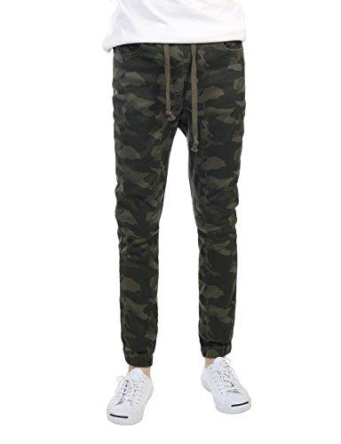 slim straight joggers olive camouflage