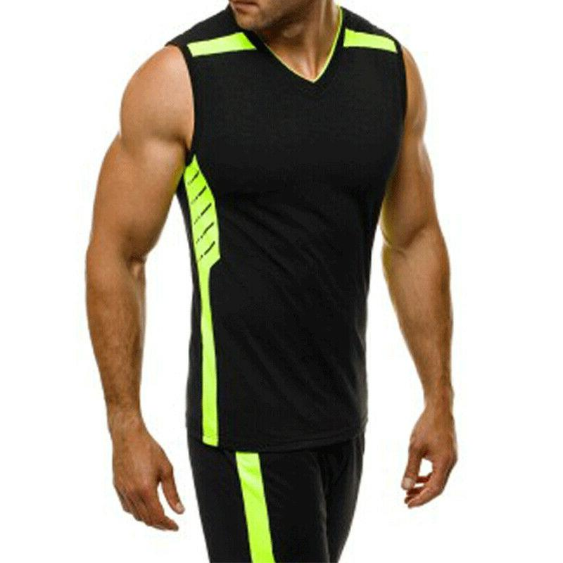 Summer Men's Sleeveless Gym T-shirts Casual Joggers Tops Tee
