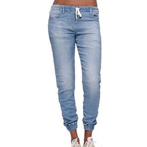 US Women's Jogger Pants Elastic Jeans Solid