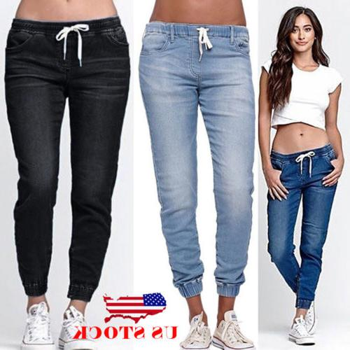 us women s casual denim jogger pants