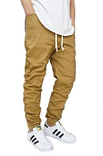 wheat twill drop crotch jogger