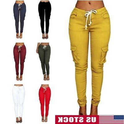 women lady cargo pants high waist jogger
