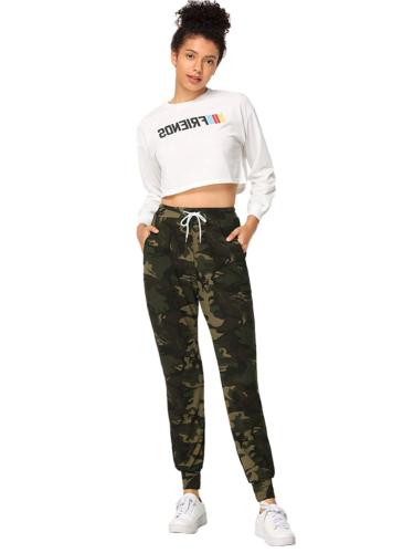 SweatyRocks Casual Jogger with Pockets Camo