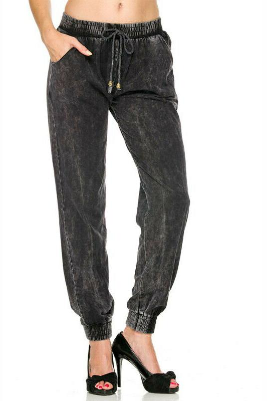 Women's Cotton Knit Denim Blue Jogger