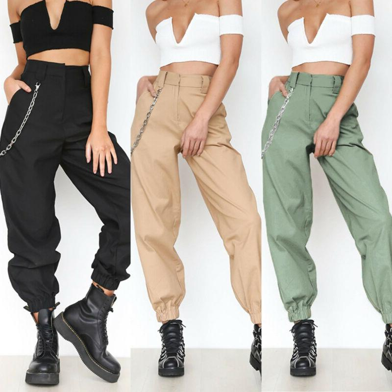 womens loose harem trousers solid high waist