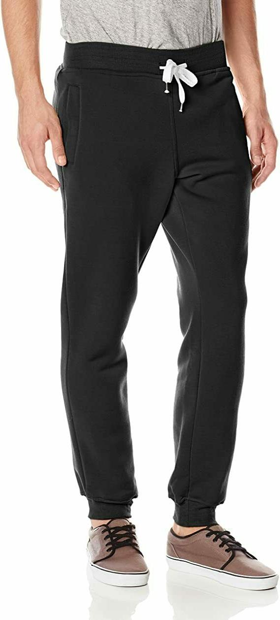 Southpole Men's Active Basic Jogger Fleece Pants, Black, Med