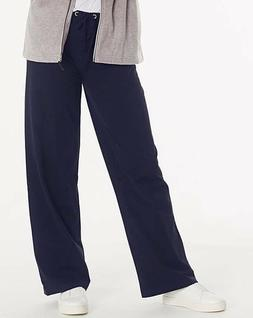 Simply Be Ladies Cotton Rich Navy Wide Loose Fit Joggers Tro