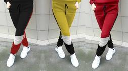 Warm Fleece Tracksuit Patchwork Athletic Joggers Running Swe